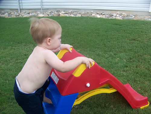 100728 Playing in yard 01 - Coleman on slide