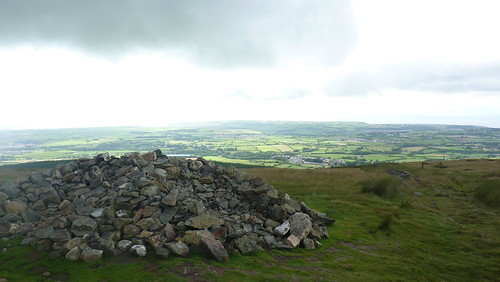Huge cairn and a view back towards the coast