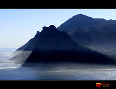 View from the top of Chappies (moi_images) Tags: sea sun mist landscape southafrica capetown hills land houtbay