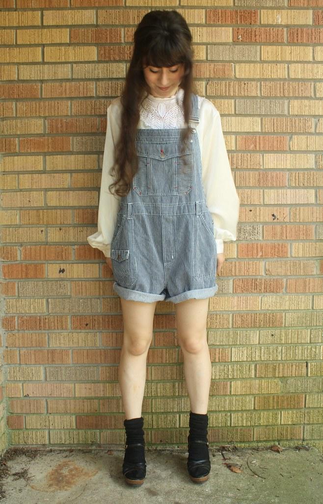 vintage railroad stripe overalls