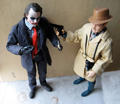 Joker vs Mike Hazard 9498 (Brechtbug) Tags: nyc hot eye film mike mystery movie private toy toys book weird costume comic serious action battle double disguise heath figure spy marx joker agent why brass hazard knuckles attacking detective investigator ledger so