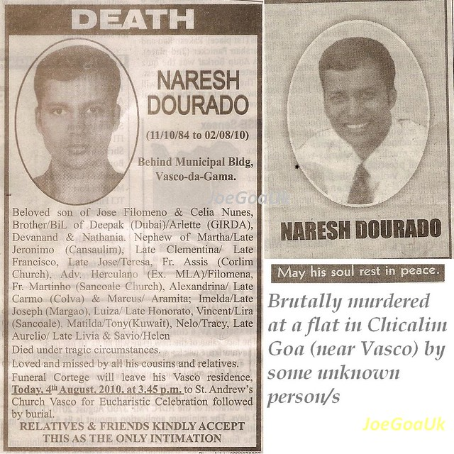 Young Naresh Dourado 25.  murdered
