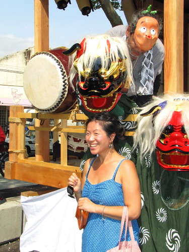 It is considered good luck to be bitten by this supernatural creature (mask) at Omiksohi, Powell Street Festival 2010 where Japanese tradition meets new expression in Vancouver Canada