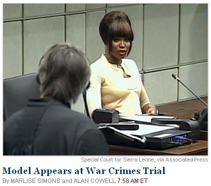Supermodel Naomi Campbell appearing for hearing at war crimes trial