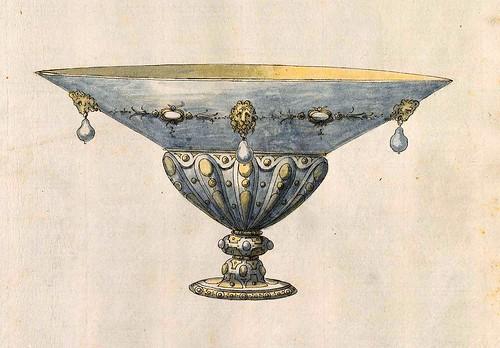 008-Cuenco-Entwürfe für Prunkgefäße in Silber mit Gold-BSB Cod.icon.  199 -1560–1565- Erasmus Hornick