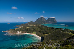View over Lord Howe Island (whitworth images) Tags: travel blue sky mountains green beach nature water beautiful landscape outdoors island bay aqua view pacific turquoise australia nobody lagoon hills nsw tropical newsouthwales reef malabar lordhoweisland lordhowe mountlidgbird mountgower nedsbeach mtgower mtlidgbird