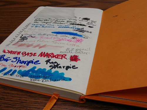 "Torture-testing the paper in a Rhodia web notebook (""webbie"")"