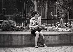 L'anxieuse (Lionswood) Tags: street leica belgium belgique streetphotography belgië liège publicbench bancpublic photographiederue dlux4