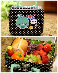 Little Lunch Box Bento (Bunches and Bits {Karina}) Tags: cute tomato lunch pepper diptych plum fresh bento kiwi raspberries watermellon paperchase turkeysandwich champagnegrapes twofortuesday