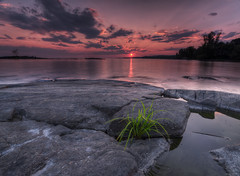 Lake Nipissing Sunset-HDR (CUCKOOPHOTHOG) Tags: camera sunset ontario canada photoshop lens landscape rocks photographer country lakes places 09 nd beaches 06 hitech province topaz northbay canadianshield gnd hardedge photomatix cs5 nikond300 tokinaatx116 ruiferreira pro30 adjust4 hoyalpfpolarizercir denoise5