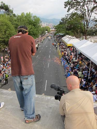 Troy (left) and Drew (right) gained access to a bridge above the parade route for La Feria de las Flores.