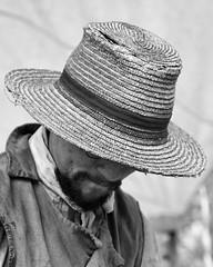 The man with the old straw hat (_Robert C_) Tags: nyc portrait bw ny man hat blackwhite straw sigma statenisland d300 2470mm historicrichmondtown richmondtown robertcatalano
