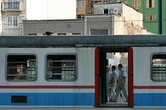 commuter train (delikizinyeri) Tags: door window station train canon turkey istanbul passengers commuters sirkeci 400d