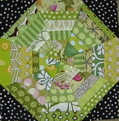Block with black corner fabric from my stash!