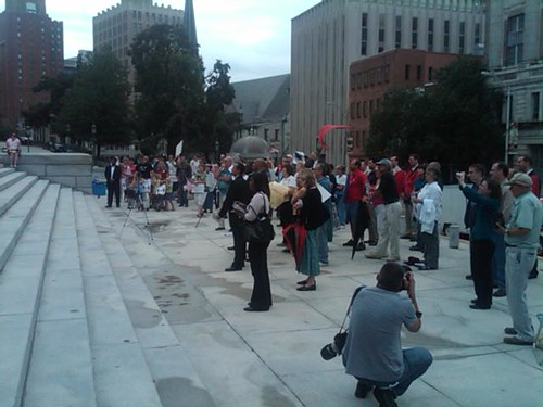 NOM supporters in front of the state capitol in Harrisburg