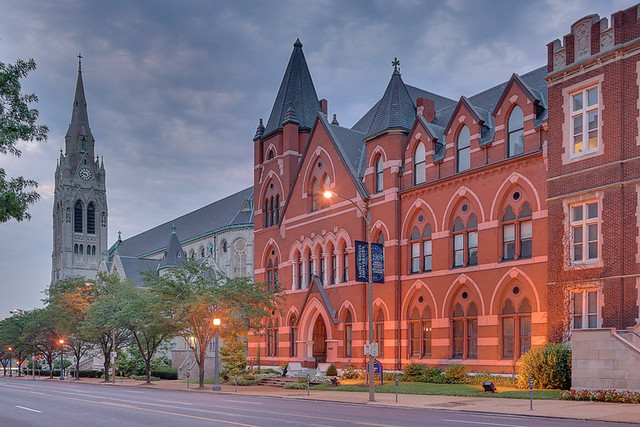 Saint Louis University, in Saint Louis, Missouri, USA - Saint Francis Xavier Church at dawn