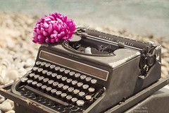 Typing at the beach (Isabel Pava) Tags: sea summer vintage textures typewritter hispanoolivetti