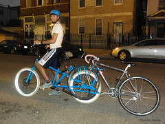 Towing a bike with a Yuba Mundo (Steven Vance) Tags: street blue me bike night bicycling diesel flash helmet bicicleta pilsen neighborhood reflective singlespeed katmandu vlo towing nishiki schwalbe cargobike discbrakes mybikes fatfrank yubamundo