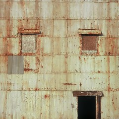 Siding (kevin dooley) Tags: door old red building 120 6x6 film window wall architecture facade analog rising illinois rust side elevator central grain rusty super structure 66 velvia rusted manmade fujifi