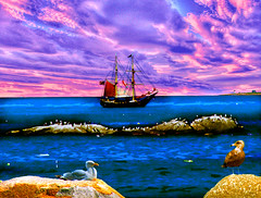 Cape Ann Ocean Scene (Rusty Russ) Tags: ocean new pink blue sunset sky color water face birds rock photoshop book boat yahoo google flickr ship mask image massachusetts paste august atlantic ann layer cape newsroom improved rockport upon 2010 stumble manipulate ishkolorkraft