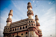 Charminar, Hyderabad, India (abhiomkar) Tags: old city morning blue cloud india art history clock clouds design day indian details august explore hyderabad independence frontpage oldcity charminar andhrapradesh happyindependenceday august15th
