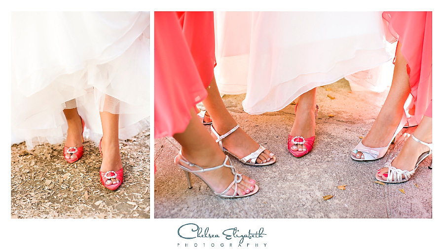 Tangerine orange bridesmaids and bridal shoe details picture