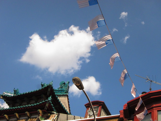 American flags in Chinatown