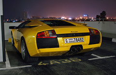 Lamborghini Murcilago in Dubai (Martijn Kapper) Tags: car yellow night hotel dubai italia shot garage united emirates exotic arab abu dhabi lamborghini fairmont qatar supercars murcilago autogespot autospotten