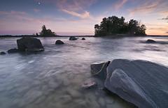 Moonrise over Nipissing (CUCKOOPHOTHOG) Tags: blue sunset sky moon lake ontario canada photoshop island bay nikon rocks north lakes 03 crescent full tokina pro he 06 hitech 116 topaz atx d300 nipissing noiseware gnd cs5 adjust4 denoise5