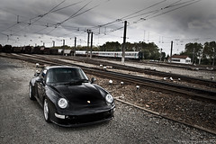 Porsche 993 Turbo (Alexis Goure) Tags: auto alexis black france car station train canon wagon french eos photo automobile noir gare 911 rail automotive voiture turbo german coche porsche shooting tt toulouse bi f4 1740 francais 30d 993 noire biturbo wagen allemande goure sixela alexisgoure