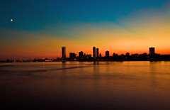 The Milwaukee Skyline at Twilight (Ravi Pinisetti) Tags: moon skyline wisconsin twilight dusk lakemichigan ravi milwaukee wi rkp milwaukeeskyline ravipinisetti pinisetti