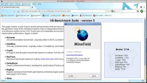 1118 points à V8 - Minefield 4.0b5pre