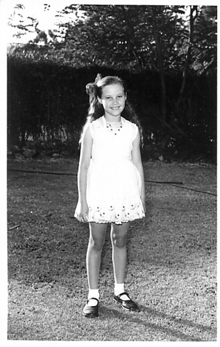 Me still wearing Swiss embroidered muslin. Age 10 or so.