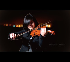 (zhewen!) Tags: sanfrancisco musician music nightshot bokeh violin fortpoint gel presidio underthebridge