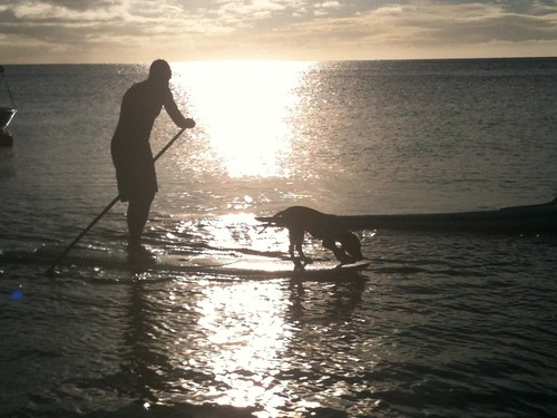 Paddling in Tahiti