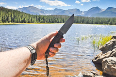 Cocobolo wood handle on Rat Cutlery RC-4 (cougar337) Tags: lake rat colorado knife fixed blade cutlery lanyard bierstadt rc4 paracord cocobolo esee ratcutlery