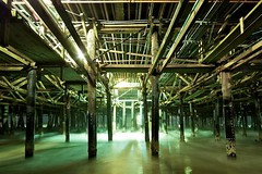 under santa monica pier (Eric 5D Mark III) Tags: ocean longexposure light shadow beach water night pier santamonica under wave structure ef14mmf28liiusm
