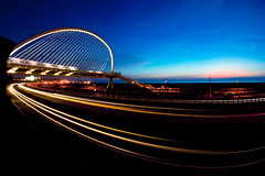Harp Bridge  (Mike Chen aka Full Time Taekwondo Dad) Tags: bridge blue light sunset orange beach mike twilight sony taiwan fisheye trail 28 expressway alpha harp  16mm  chen  metalman a900 sal16f28 shianshan
