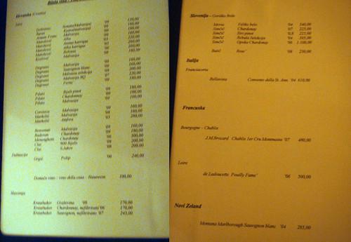 Wine list - Restaurant Blu Rovinj