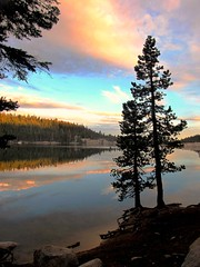 Summer Light, Lake Alpine, California (moonjazz) Tags: california travel pink light sunset summer vacation sky color pinetree reflections photo soft heaven kayak roadtrip canoe alpine capture bliss sierranevada highaltitude lakealpine fishinglake ebbetspass