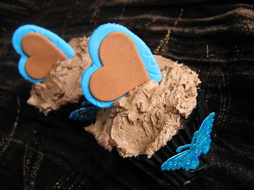 chocolate and turquoise double heart cupcake