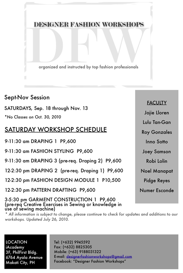 DFW Sept-Nov Session Schedule