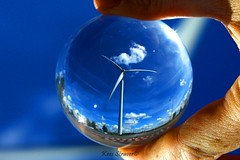 Facing the wind / Crystal Ball (kees straver (will be back online soon friends)) Tags: blue light sky macro reflection art netherlands glass dutch amsterdam clouds port ball geotagged hand wind crystal bokeh harbour nederland sphere refraction marco windturbine crystalball mywinners anawesomeshot keesstraver facingthewind bestofmywinners