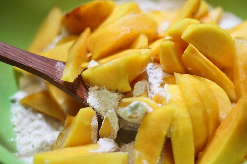 Mix in peaches