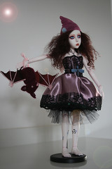 OOAK BJD Gothic pixie and bat (Alaskabody-dolls) Tags: anna ball doll ooak clown pixie fantasy bjd resin anya jointed    alaskabodydolls   githic    gechtman