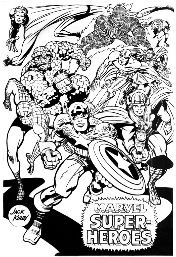 Merry Marvel Marching society poster by Jack Kirby