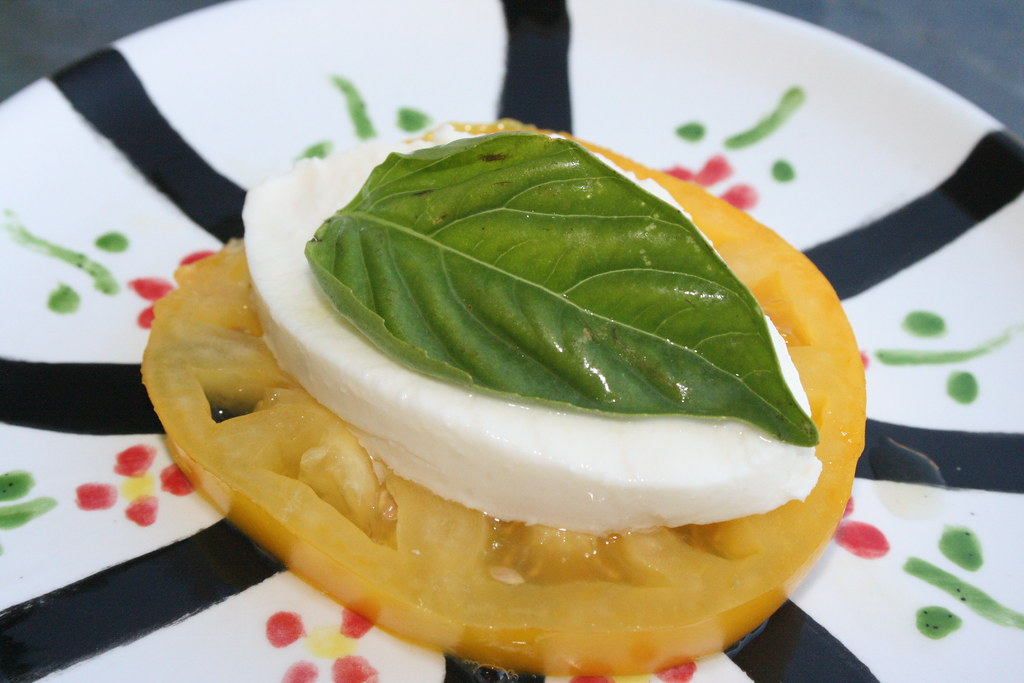 Yellow heirloom with mozzarella and basil