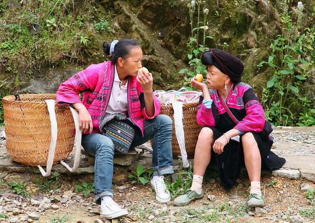 Yao women talking, Guangxi, China