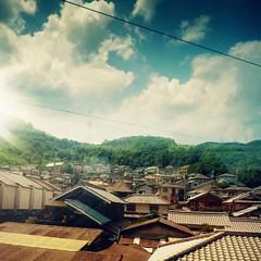 P1050967s2 (UbiMaXx) Tags: light sky sun house reflection window japan train landscape lumix interesting kyoto post panasonic processing osaka maxx ts1 ft1 ubimaxx