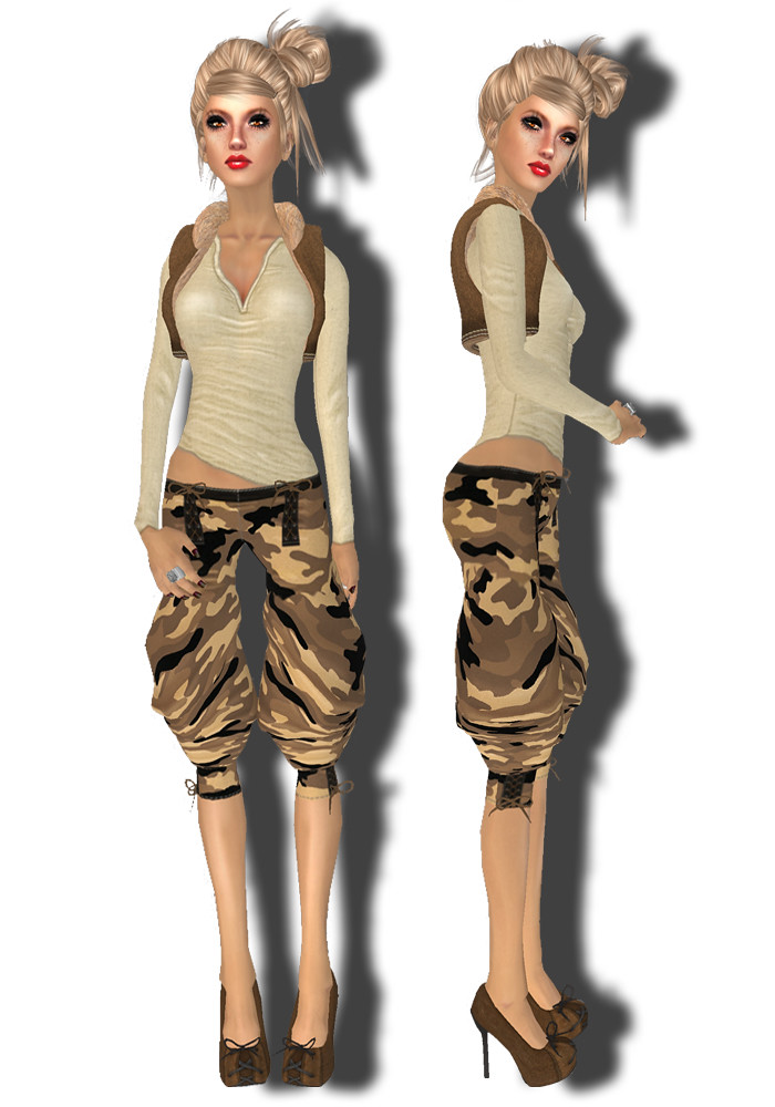 Bang Bang - Laced baggy pants - camo